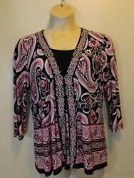 JM Collection Cute Pink Black White Paisley Pleated Tunic Top Large34 sleeve $12.49