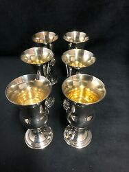 Set Of 6 Sterling Silver Cups With Gold Wash Interior. Birmingham 1934