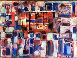 Catherine Zakas B.1936, Greece Abstract Oil On Wood Signed Excellent Condition