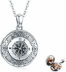 Sterling Silver Compass Locket Pendant Necklace Vintage Style Jewelry Gift 20