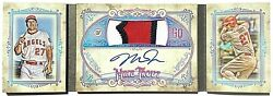 2018 Topps Gypsy Queen Mike Trout 06/10 On Card Auto 3 Clr Jersey Patch Booklet