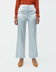 Alexa Chung Satin Cigarette Trousers Baby Blue Size S Nwt 455