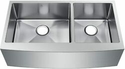 Starstar Undermount Farmhouse Apron 60/40 Double Bowl Stainless Kitchen Sink