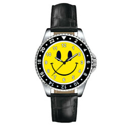 Smiley Happy Face Fashion Unisex Mens Ladies Leather Band Wrist Watch