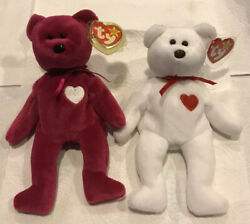 Ty Beanie Baby Retired Valentino Bear And Valentina Both With Error Tags