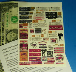 Ho 187 Railroad Train Clear Waterslide Decals, Building Signs, Farmall Tractor