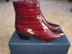 New Los Altos Menand039s Genuine Eel Skin Leather Ankle Dress Boots Size Us 10 Nice