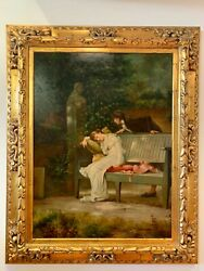 Signed Victorian Romance Scene Oil On Canvas Painting