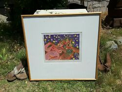Vintage Pig Party Framed Painting Nude Animal Art Decor Abstract Strange Adult