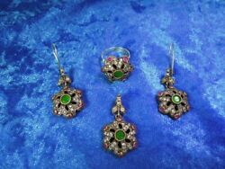 Vintage Israel Sterling Silver 925 Jewelry Set Earring, Pendant And Ring