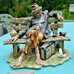 Large CAPODIMONTE Hobo on a Bench Signed $175.00