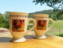 2pc B.i. Inc. Country Rooster Pedestal Coffee Mugs Tea Cup Ceramic Off White