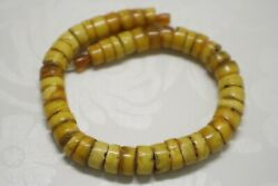 Rare Antiques Baltic Amber Beads Old Vintage Necklace Pills Wheels Tablet Disk