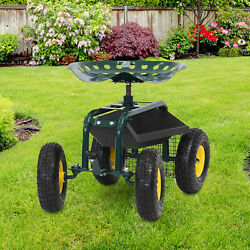 Rolling Garden Work Cart With Seat Utility Outdoor Planting Tool Tray Basket