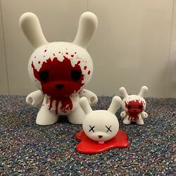 Blood And Fuzz Dunny By Luke Chueh 8-inch World Le1000 3-inch Set