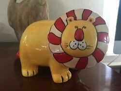 Circus LION Coin Piggy Bank Ceramic Adorable Colorful Animal Kid Decor Rare VTG