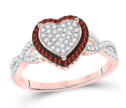 1.54ct Natural Round Diamond Ruby 14k Solid Rose Gold Wedding Heart Ring Size 7