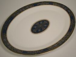 Royal Doulton China Carlyle Oval Serving Platter Blue Flowers Gold Teal England