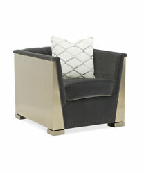 Modern Deco Style Chair With Gold Stainless Steel Frame And Charcoal Velvet