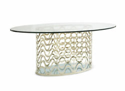 Modern Dining Table With Glass Top And Gold Metal Base
