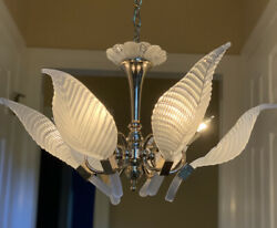Palm Beach Art Deco Nouveau Murano Palm Frond Chandelier Italy Frosted Leaves