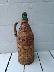 Antique Country French Italian Wicker Wrapped Brown Glass Wine Jug 18 Tall