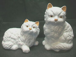 2lg Cat Figurines Kitty Animal Lover Collectibles Porcelain Home Decor Nick Nacs