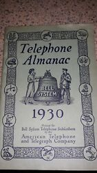 Rare 1930 Bell System Telephone Almanac By American Telephone And Telegraph Co.euc