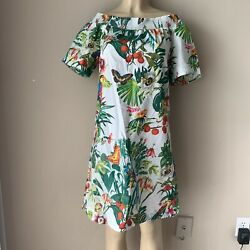New J.Crew Dress Sz 10 Ratti Into the Wild Tropical Print Off the Shoulder Shift $64.99