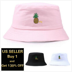 Pineapple Bucket Hat Cap Cotton Fishing Boonie Brim visor Sun Safari Summer $8.99