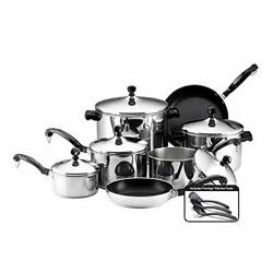Farberware Classic Stainless Steel 15 Pieces Cookware Set Dishwasher Safe