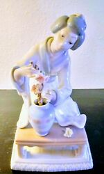 Lladro Porcelain Figurine Asian Woman And Flower Vase Moving Sale Must Go