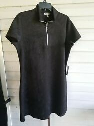 J for Justify Black Shift Dress Plus Size 2X Faux Suede Pullover Stretch NWT $24.99