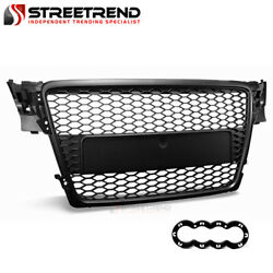 For 2009-2012 Audi A4 B8 Black Rs Honeycomb Mesh Front Hood Bumper Grill Grille
