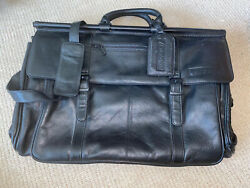 Vintage/unused Malaysia Airlines Black Leather Flight Bag With Protective Bag