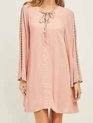 Entro Peach Lace Up Long Sleeve Boutique Tunic Shift Dress S-L $19.99