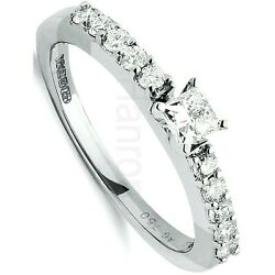 Certificated Diamond Solitaire Ring 18 Carat White Gold British Large Size R - Z