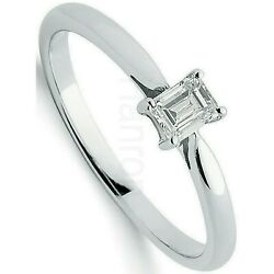Certificated Emerald Cut Diamond Solitaire Ring 18k White Gold Large Sizes R - Z
