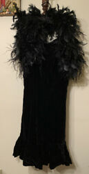 MISS BERGDORF VINTAGE BLACK VELVET EVENING DRESS WITH FEATHERS S $82.99