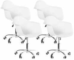 New Mid-century Modern Swivel Plastic Shell Molded Office Task Chair With Wheels