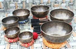 5 To 10 Inches Full Moon Singing Bowl Set Handmade In Nepal Home And Living.