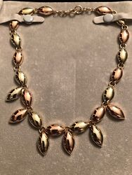 14k Yellow Rose Gold Retro Necklace Signed Mossalone Art Deco Excellent Shape