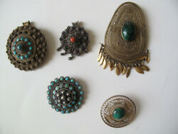 Vintage Israel Wirework Brooches, Lot Of 5, Sterling Silver 935, Must See