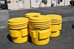 Qty2 Eagle 1661 Overpack Drum Open Head 65 Gal Yellow + Qty2 90 Gallon 1690