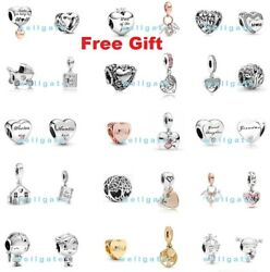925 Sterling Silver Mum Mom Mother Family Love Heart Charms For Charm Bracelet
