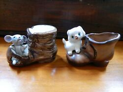 Mouse in Shoe and Puppy on Shoe Small Figurines