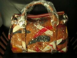 Rare Limited To 250 Dooney And Bourke Natural Satchel Purse Florentine Dipinta