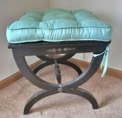 Moving Sale Pair Of Low Black Wood Roman Greco Foot Stools Seats W/mint Cushions