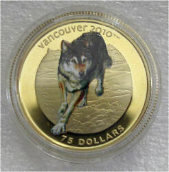 2009 Canada 2010 Olympics 75 Dollars Gold Coin Color Wolf Early Strike 817