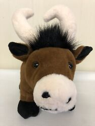 Dan Dee Brown Cow Horns Move Piggy Coin Bank Works With Stopper Plush Stuffed